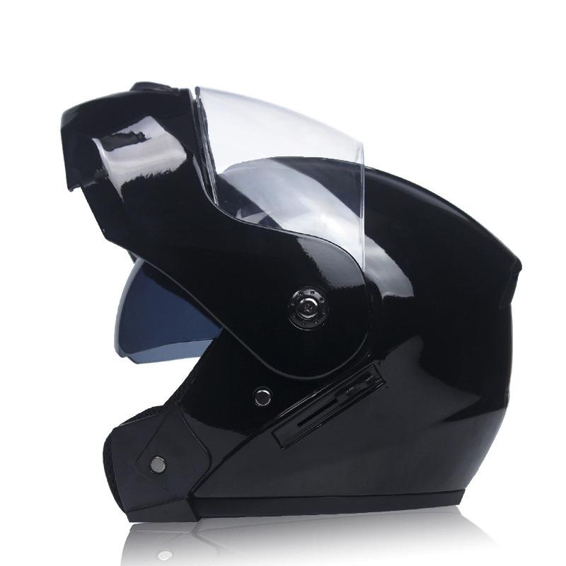 Unisex Flip Up Racing Helmet Modular Dual Lens Motorcycle Helmet Bright black with transparent_XL