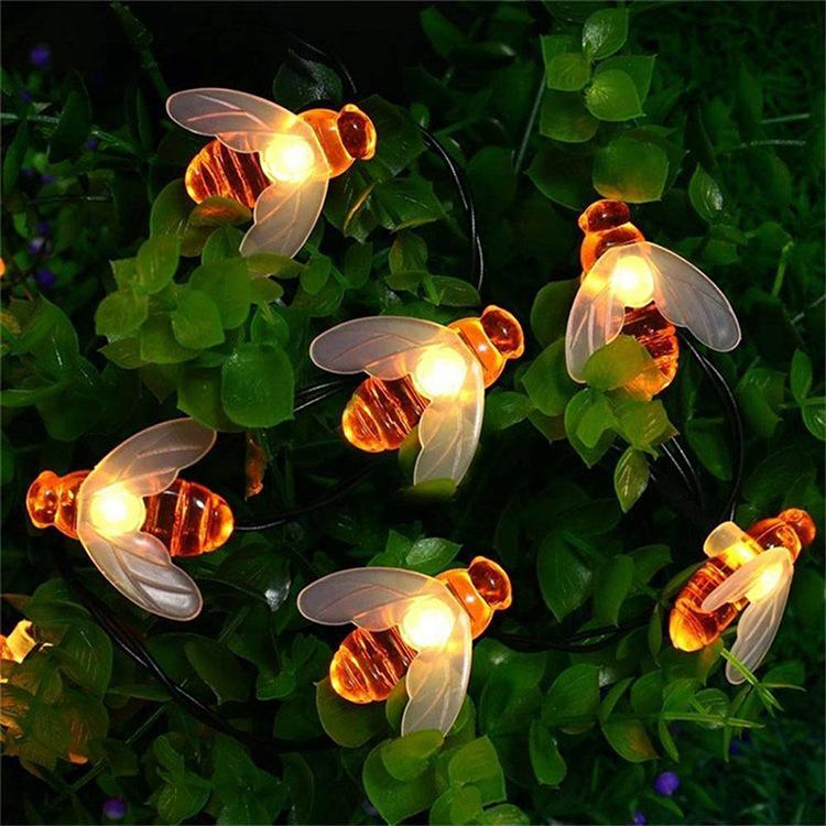 Solar Powered Cute Honey Bee Shape LED String Light Outdoor Garden Fence Patio Decor Warm White_6.5 m 30 LED