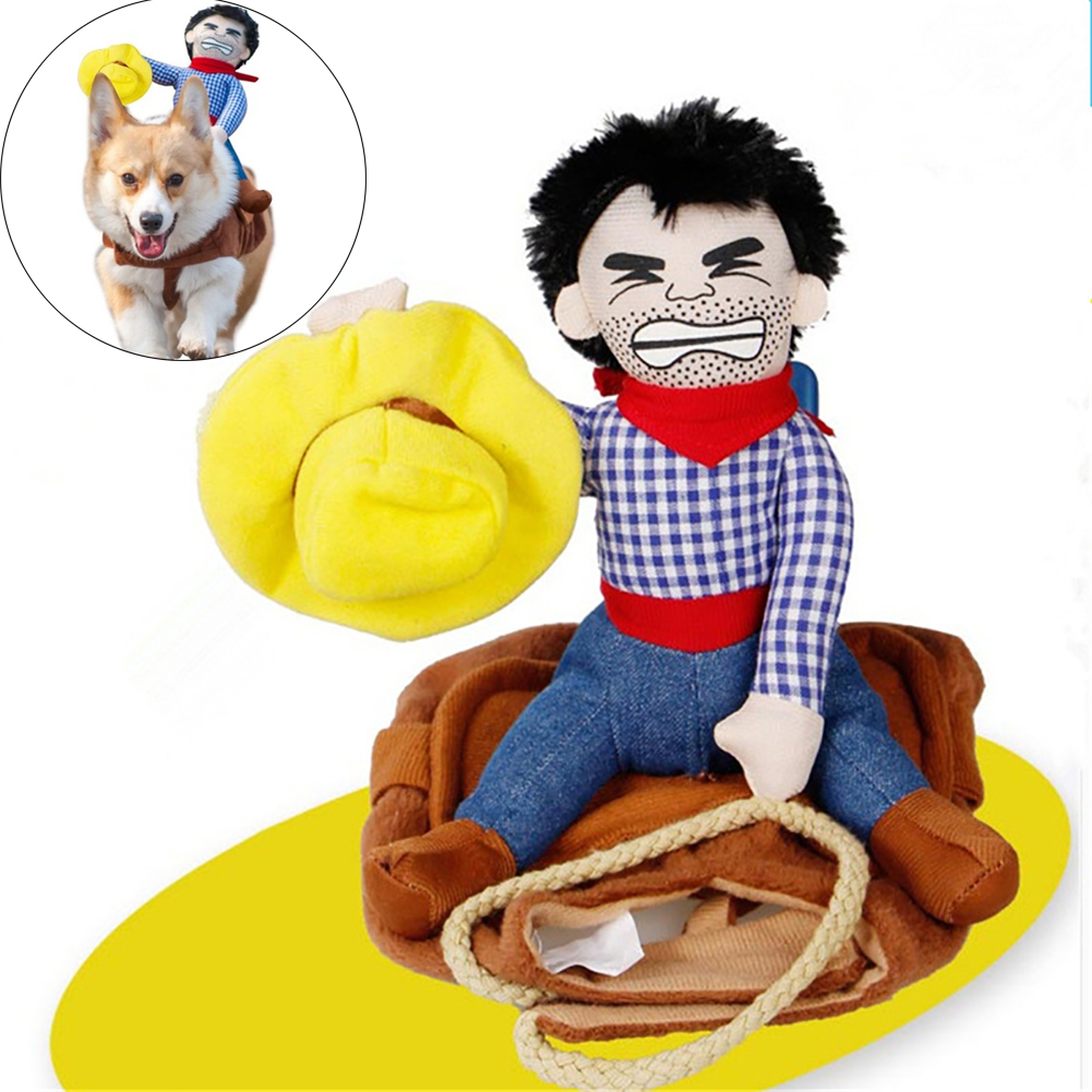 Funny Cowboy Riding Costumes Jacket for Pet Cat DogCosplay Accessories  As shown_M