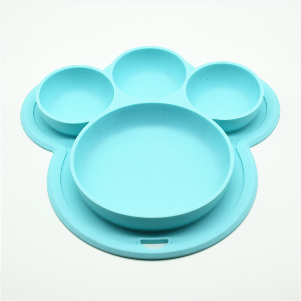 Baby Silicone Feeding Bowl BPA Free Cartoon Bear Paw Shape Children Dinner Dishes Suction Toddle Training Tableware  blue