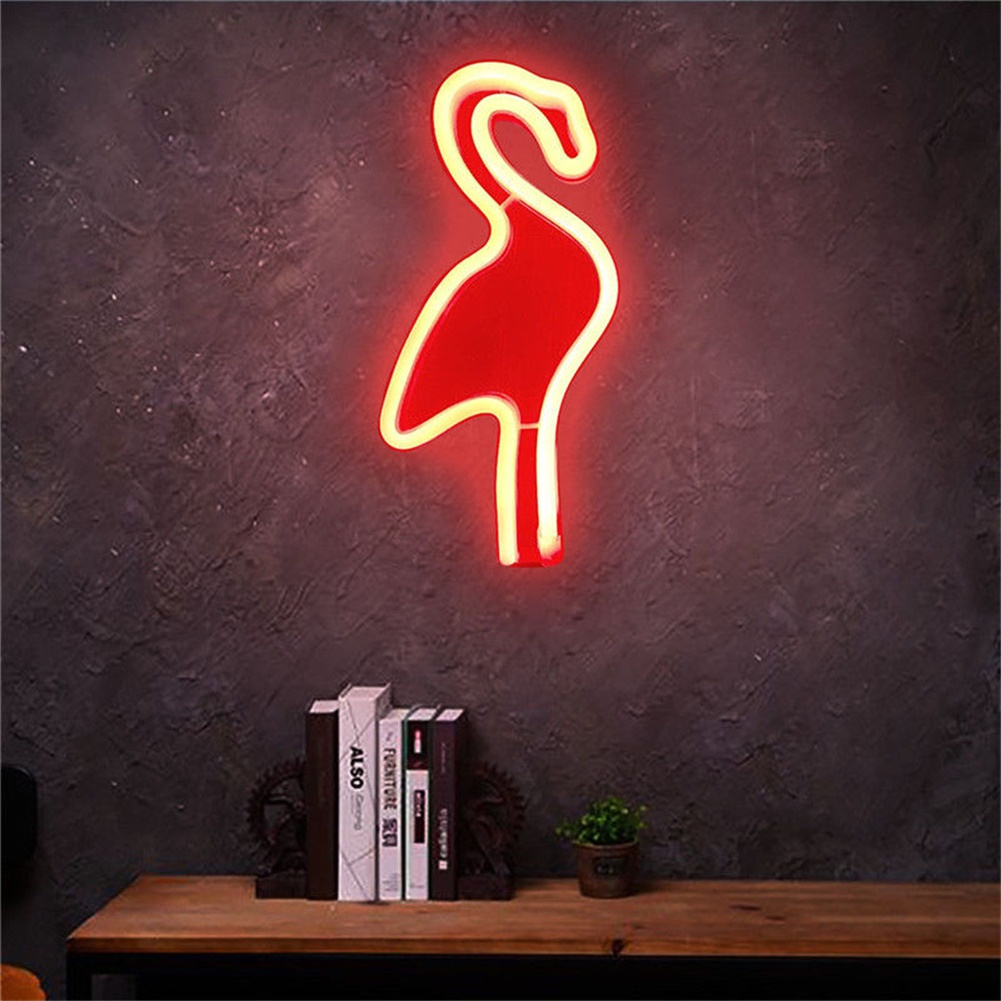 Creative Flamingo Wall Hanging Lamp Bar Party Club Decor Neon Sign Design Romantic Dim Mood Lamp Battery Operated Red