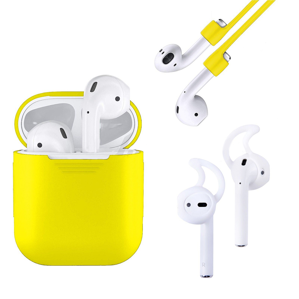 [Indonesia Direct] 3 in 1 AirPods Silicone Case Cover Protective Skin for Apple Airpod  yellow