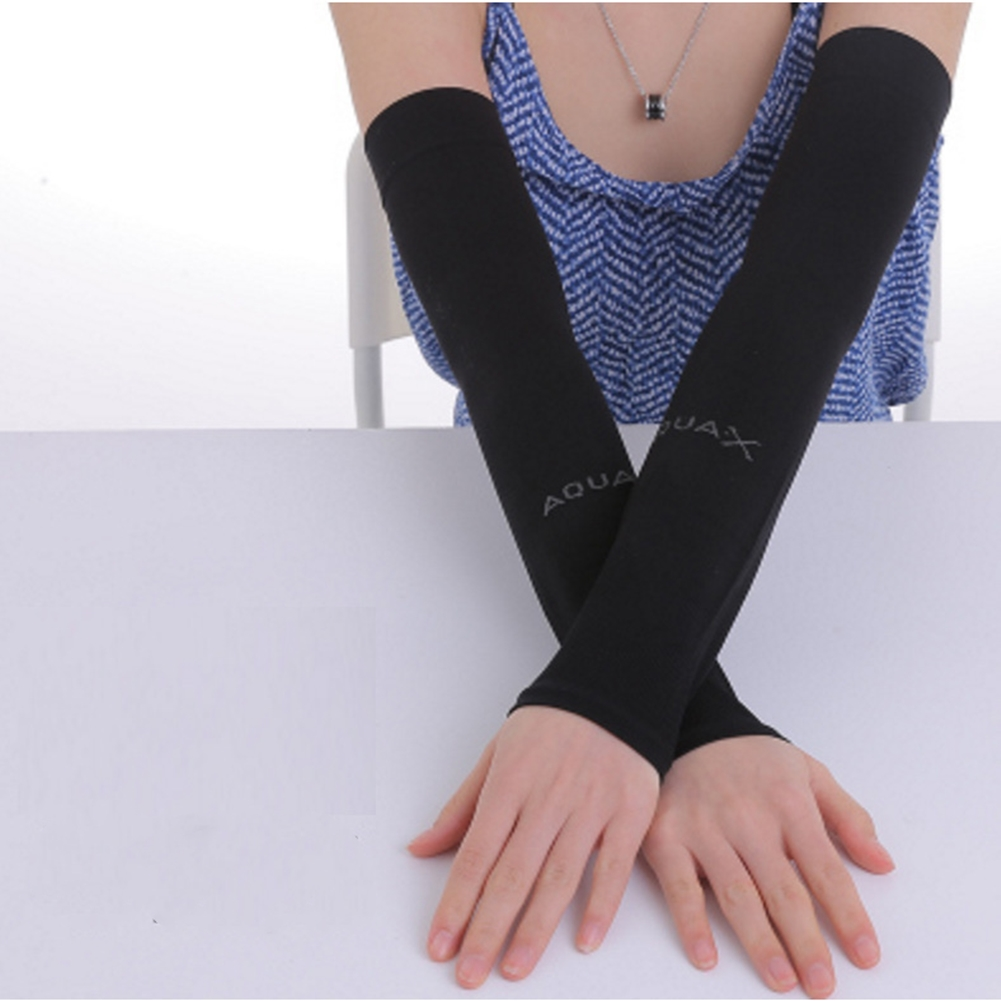 Ice Fabric Arm Sleeves Mangas Warmers Summer Sports UV Protection Running Cycling Driving Reflective Sunscreen Bands [Flat Mouth] Black