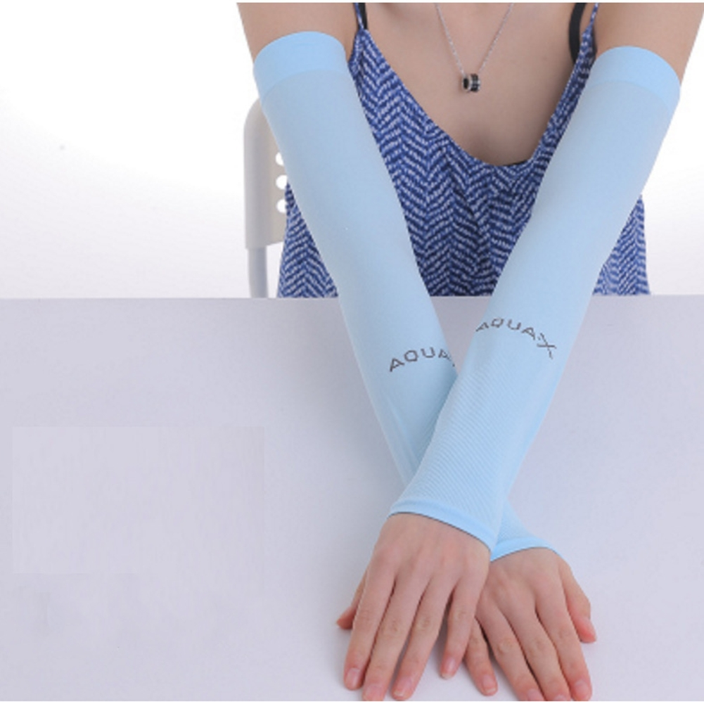 Ice Fabric Arm Sleeves Mangas Warmers Summer Sports UV Protection Running Cycling Driving Reflective Sunscreen Bands [Flat Mouth] Blue
