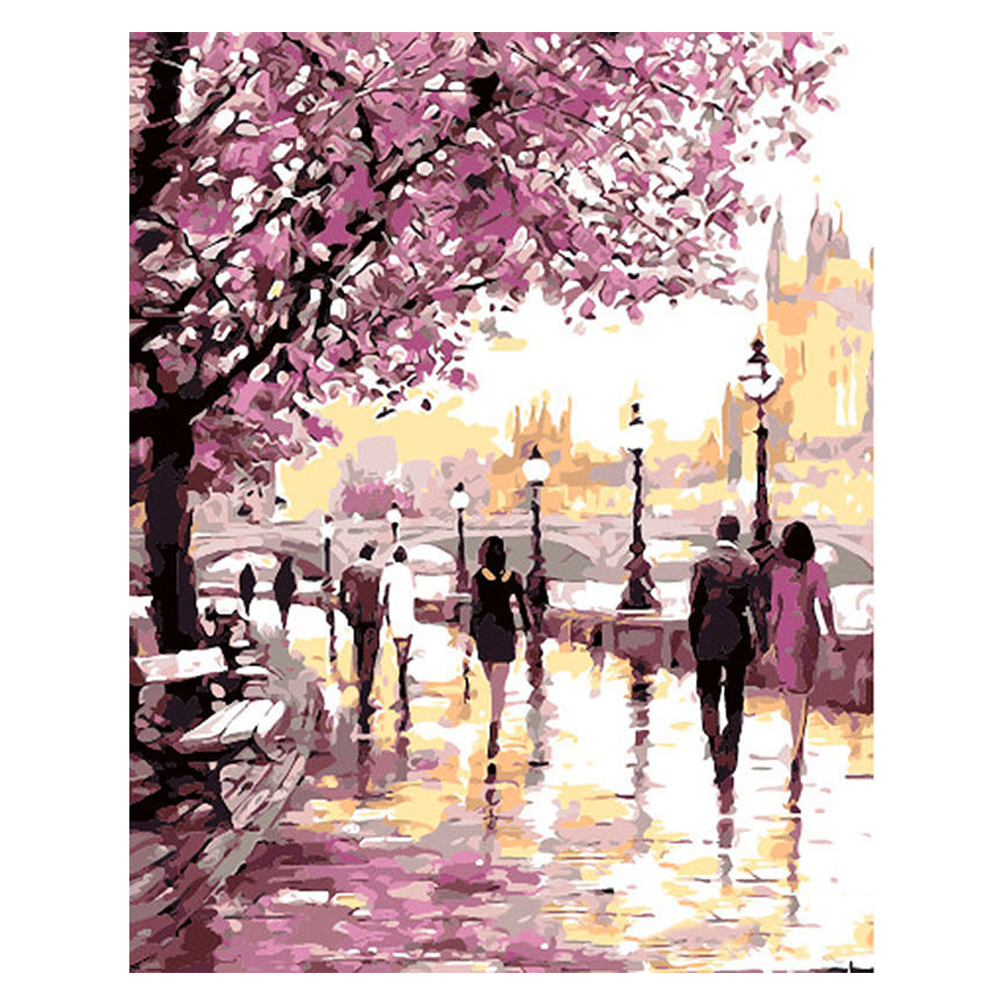 Cherry Blossoms DIY Painting Digital Oil by Number Kit Paint Home Wall Art on Canvas Frameless  40x50CM_park