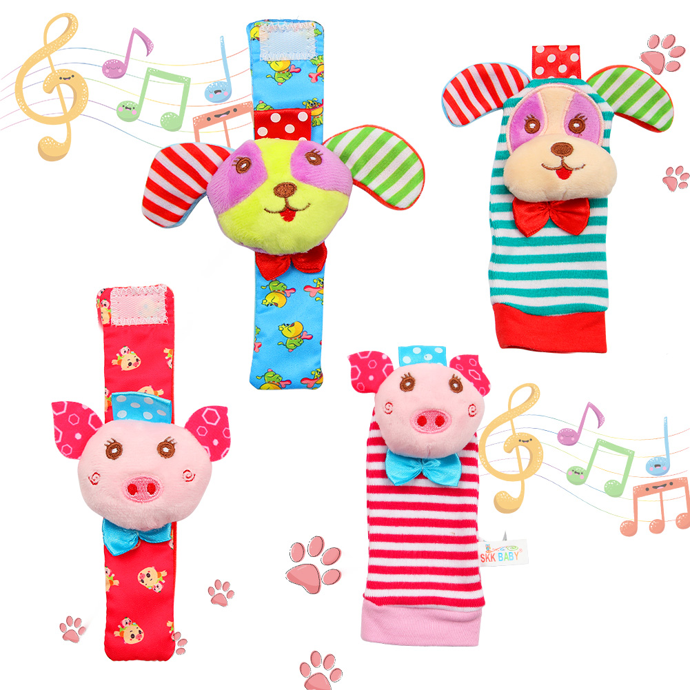 [Indonesia Direct] Acekid Baby Rattle Set, 4Pcs Wrist Rattle and Socks Toys Set Toddler Soft Animal Toys Pig and Puppy