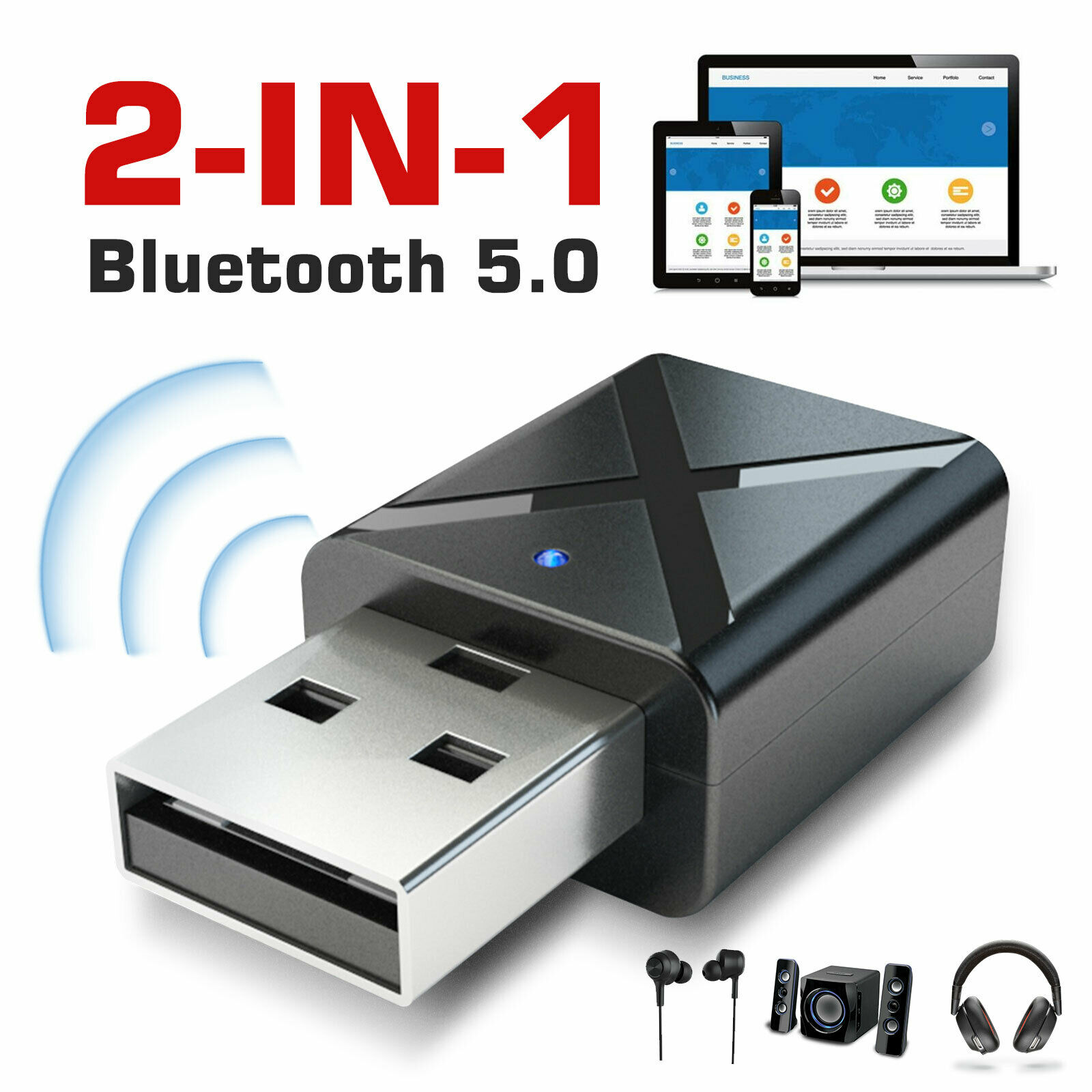2-in-1 Bluetooth 5.0 Transmitter Receiver Usb Wireless Stereo Audio Adapter Pc Tv Black