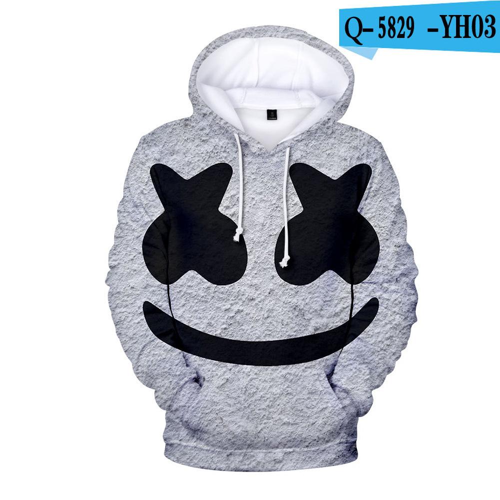 Men Women DJ Marshmello Fans 3D Print Small Happy Face Long Sleeve Sport Hoodies Sweatshirt O style_XXL