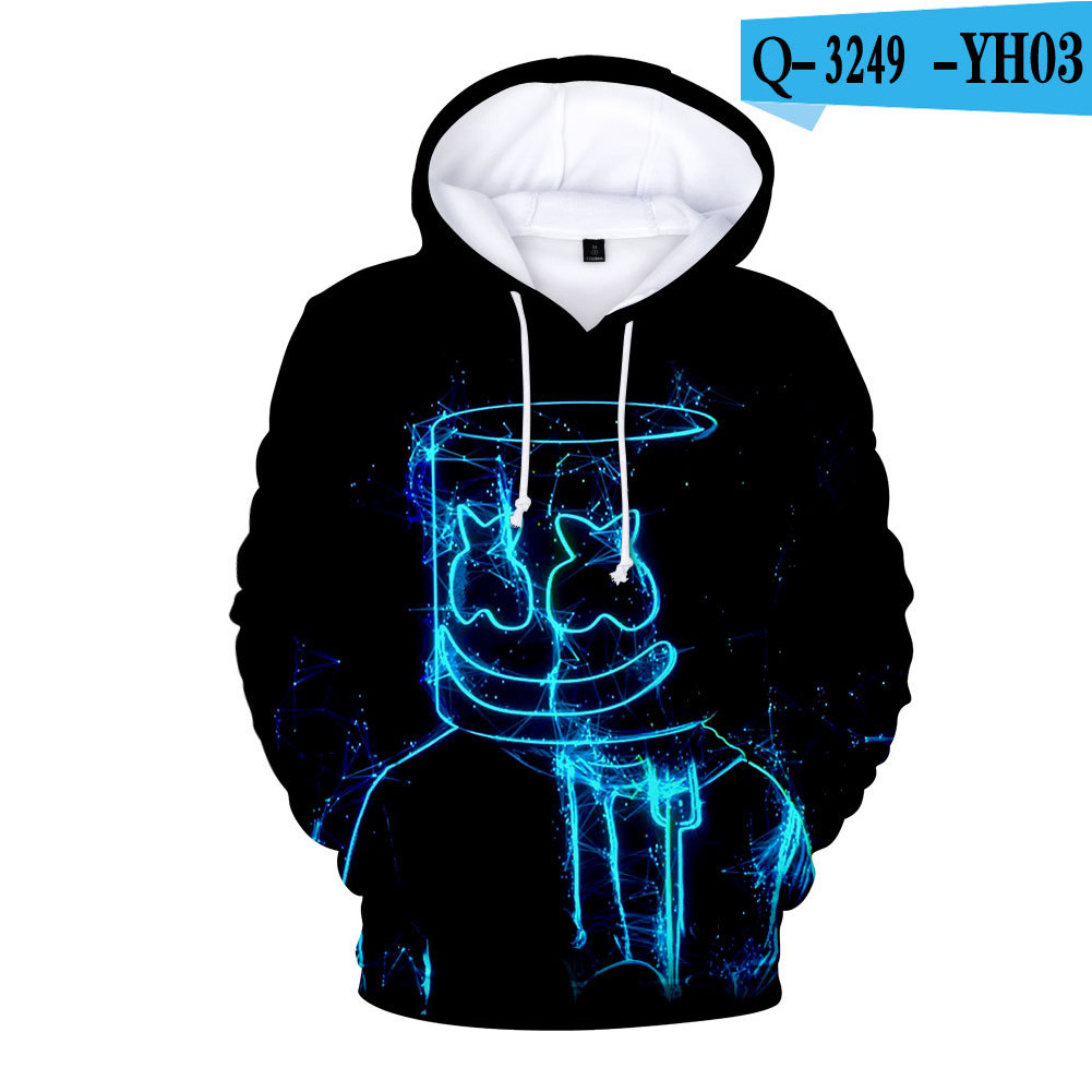 Men Women Long Sleeve Small Happy Face DJ Marshmello 3D Print Casual Hoodies Sweatshirt O style_S