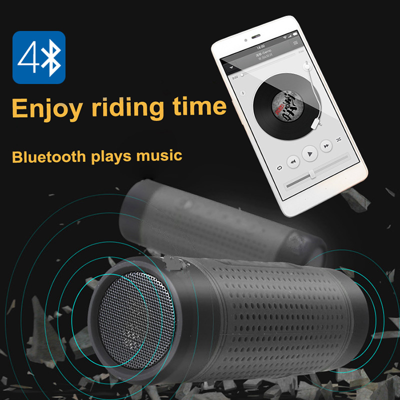 Bluetooth Speaker Bike Light - Bluetooth 4.1, 3W Speaker, IPX6 Waterproof, Flashlight, FM Radio, 3000mAh, Built-in Microphone