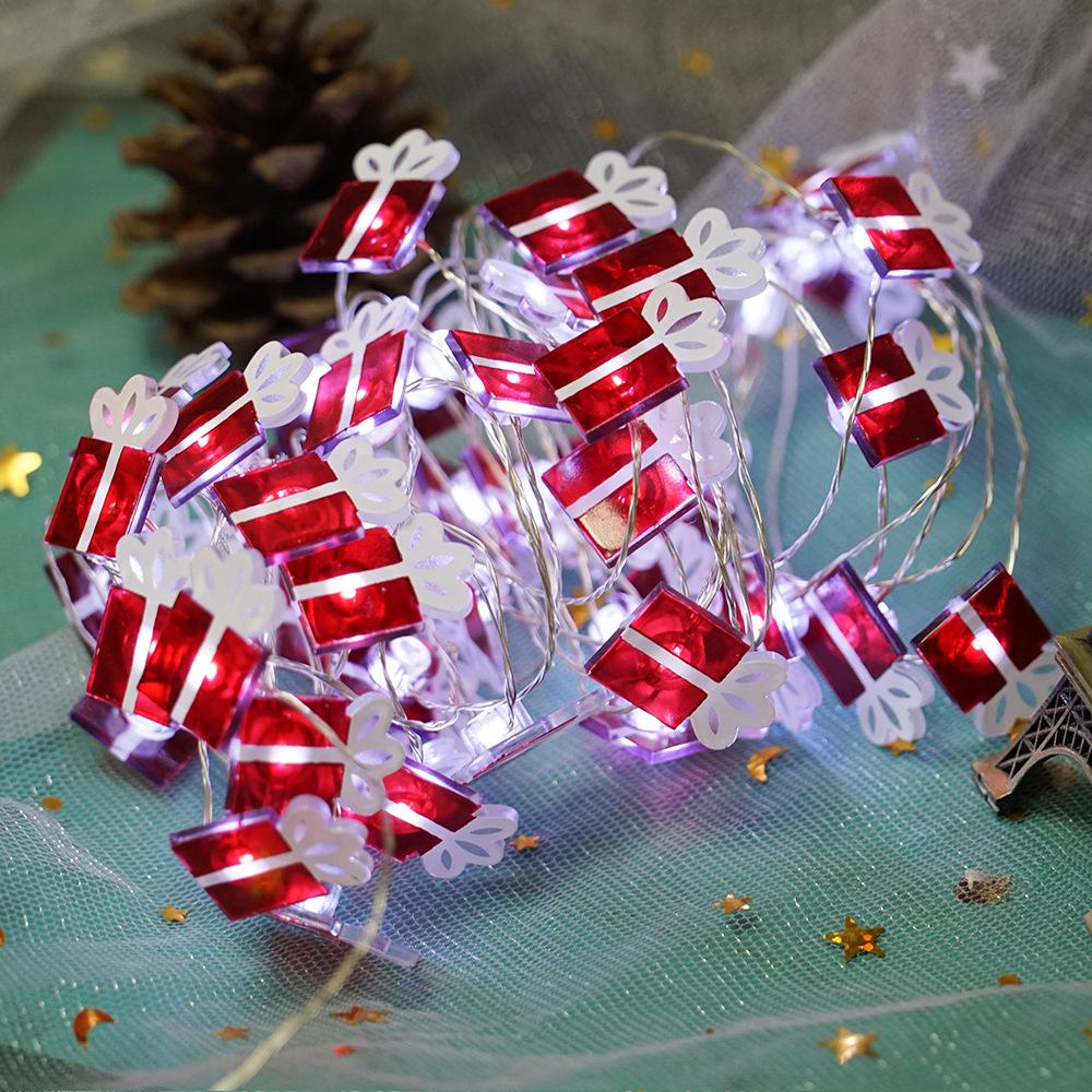 LED 8Modes String Light Santa Claus Gift Box Shape Lamp Christmas Tree Pendant for Party Decor white