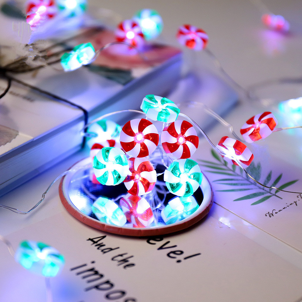LED String Light Lovely Candy Shape Decorative Copper Wired Lamp String with Remote Control for Party 8 lighting modes
