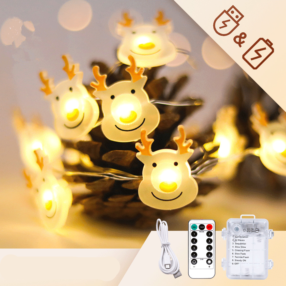 Christmas Elk Shape String Lights LED Xmas Tree Garland Hanging Ornaments for Party IR two-in-one battery box reindeer shape