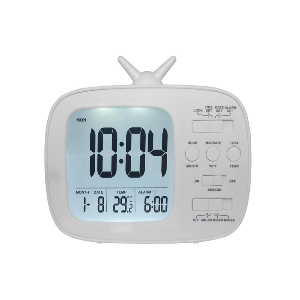 Cute  Alarm  Clock Multifunctional Bedside Battery Child Alarm Clock Bedroom Office Decoration White