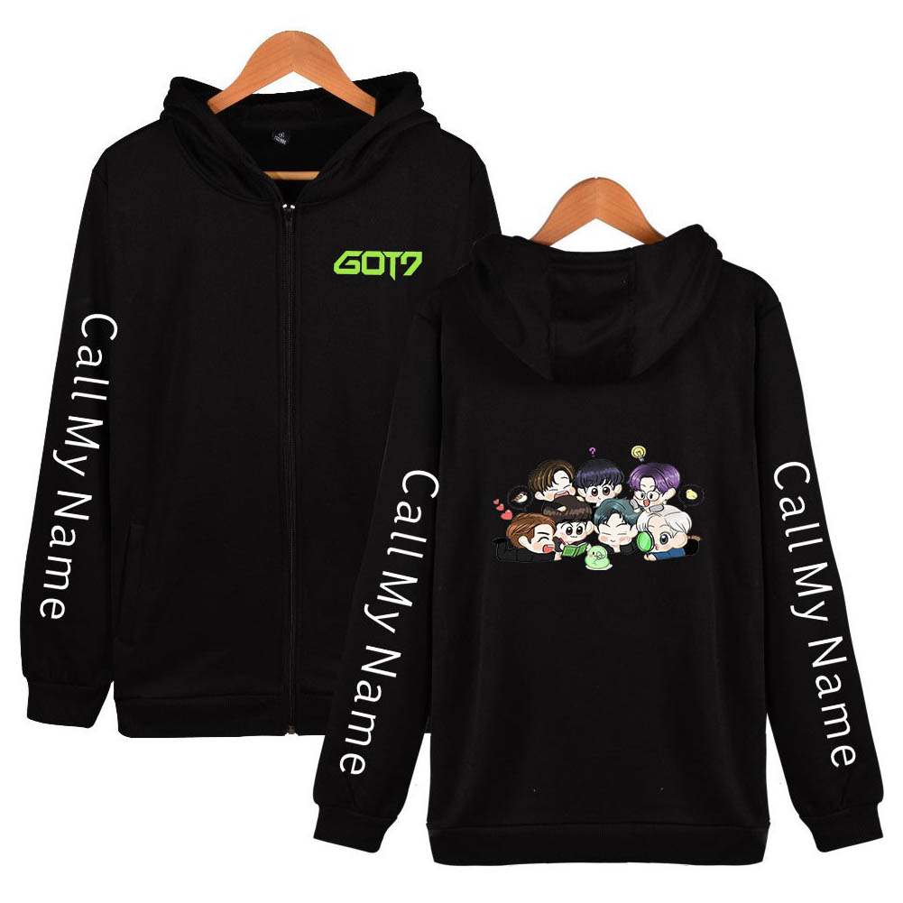 Zippered Casual Hoodie with Cartoon GOT7 Pattern Printed Leisure Top Cardigan for Man and Woman Black D_L