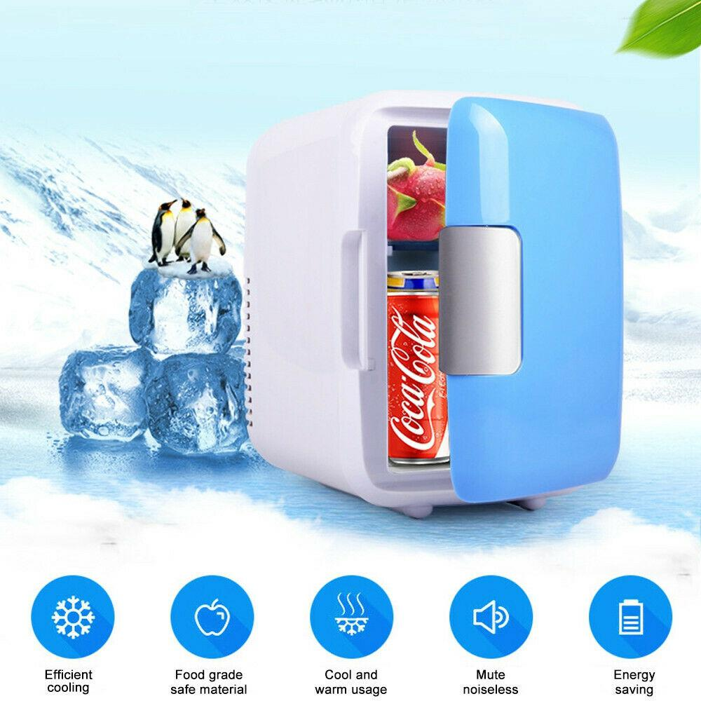 4L Car Refrigerator Automoble Mini Fridge Refrigerators Freezer Cooling Box frigobar Food Fruit Storage Fridge Compressor blue_Car