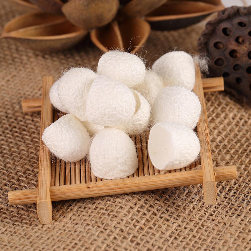 10/20/30/50/100pcs Natural Silkworm Cocoons Skin Care Facial Face Blackhead Cleanser Silk Scrub Half cut_50pcs