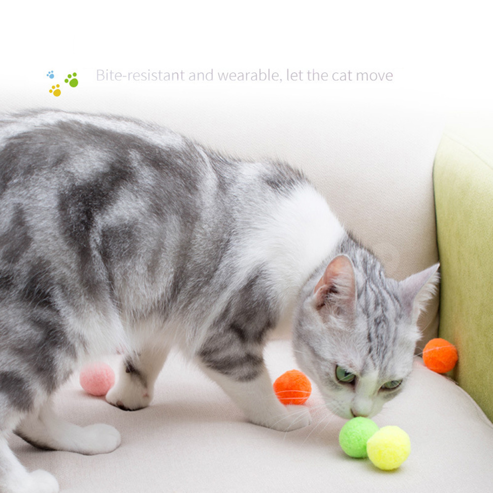 30Pcs Colorful Elastic Plush Balls Bite Resistant Molar Teeth Cleaning Toy for Cat