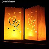 [EU Direct] Luminary Paper Lantern Candle Bag Flame Retardant Paper Bag for Party Double Heart 10pcs/set