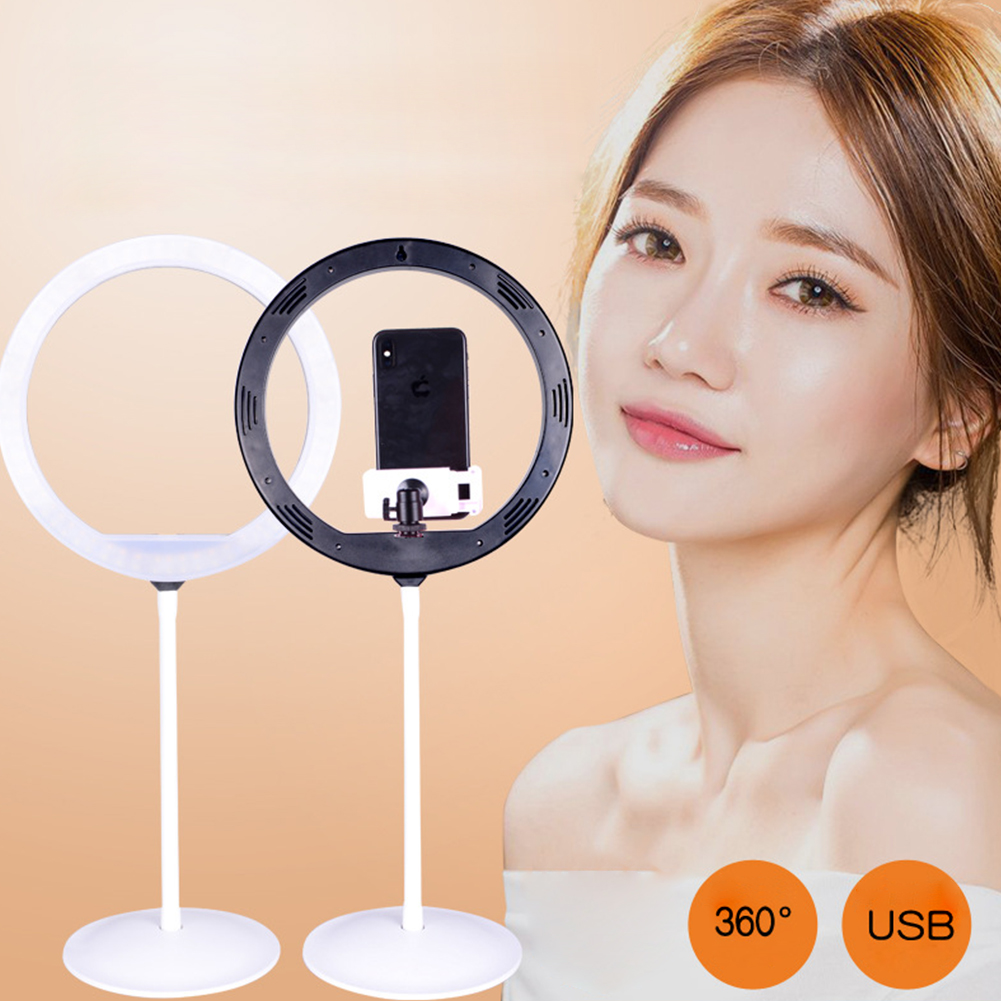 9inch Ring LED Fill Light Dimmable Adjustable Stand for Cellphone Video Live Selfie Photography Set with tray