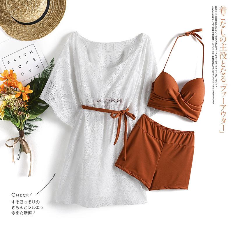 3pcs/set Swimsuit Split Suit Bikini Swimming Suit With Sunscreen Blouse Hot Spring Swimsuit Brown_Int:L