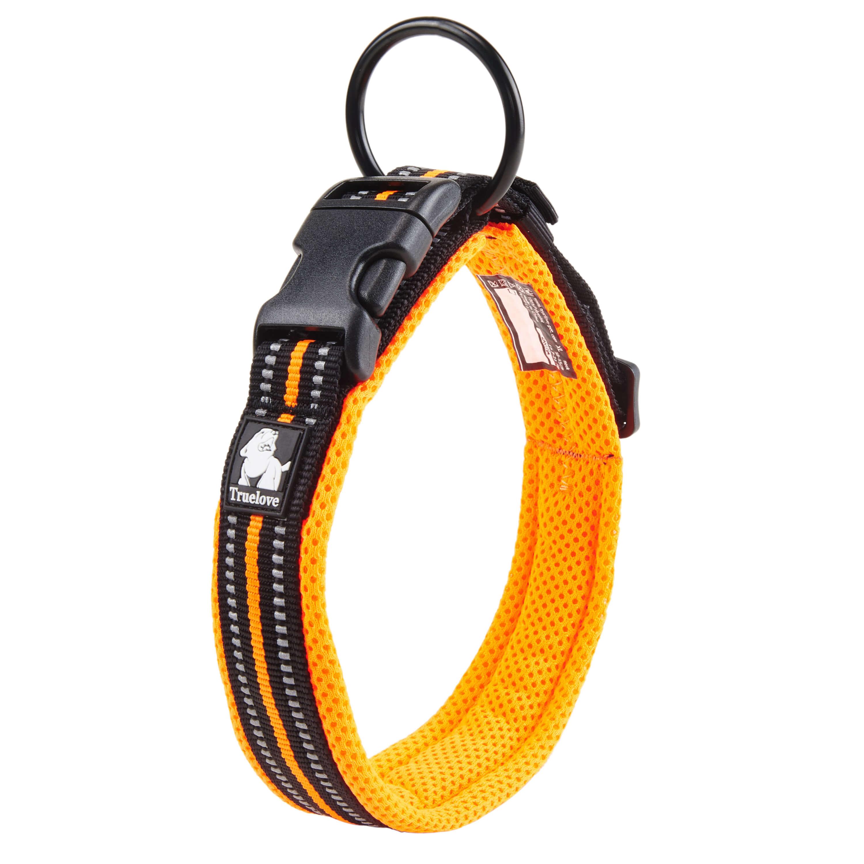 [US Direct] Original Truelove Reflective Dog Collar with Plastic Clip-in Buckle, High-grade Soft Padded Nylon Webbing, No Choke Basic Collars (XS, Orange) Orange_XS