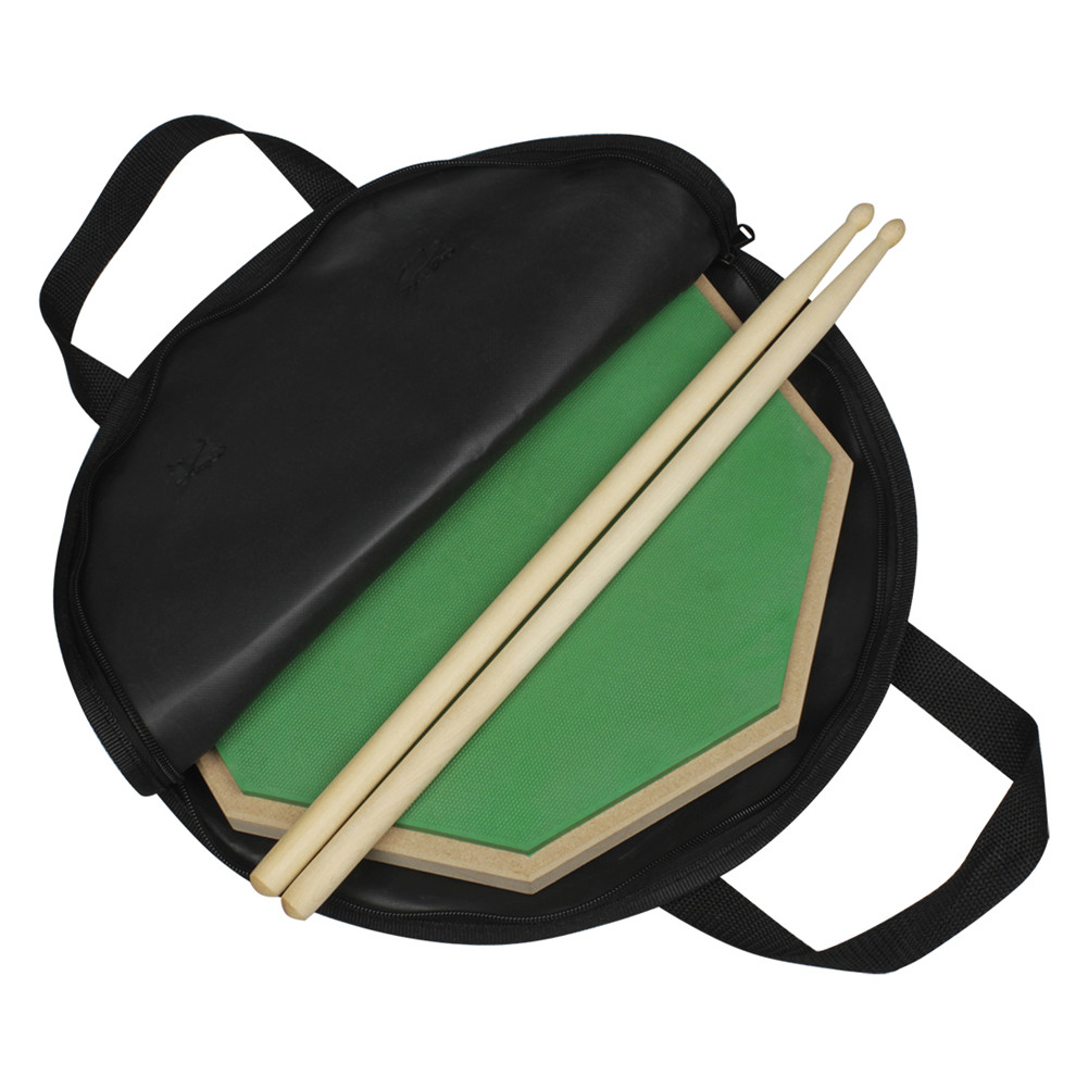 Wooden Dumb Drum Practice Training Drum Pad Set with Dumb Drum Bag Drum Stick green