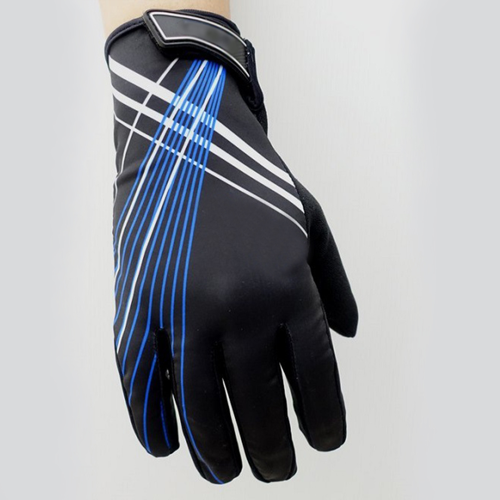 Riding Gloves Antumn Winter Mountain Bike Gloves Touch Screen Bike Gloves Black blue line_XXL