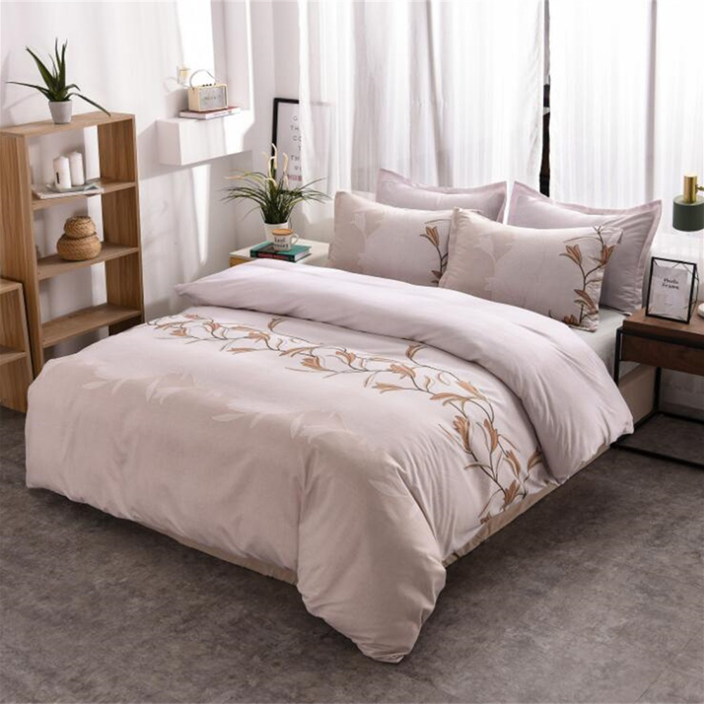3pcs Simple  Printing Duvet  Cover Pillowcase Bedding  Sets For  Home  Hotel Milky white_260x230cm(US King)