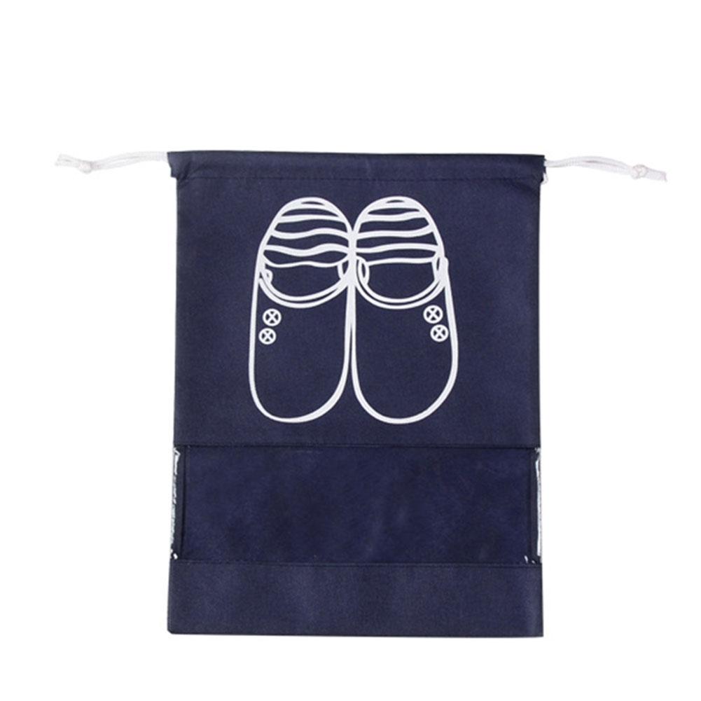 Waterproof Portable Large Capacity Drawstring Bag for Travel Shoe Storage Navy_Medium