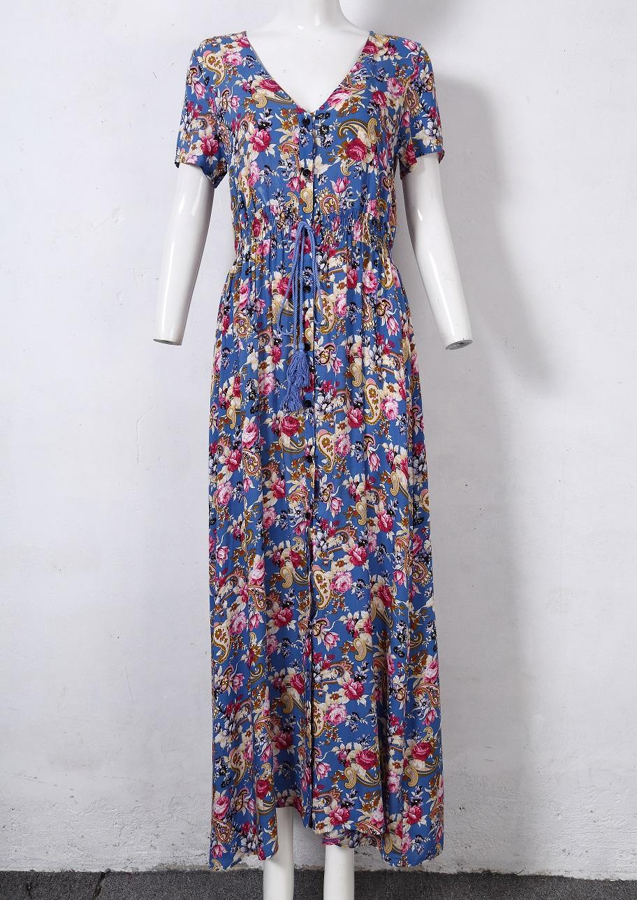 [US Direct] VeryAnn Women Button Up Split Floral Print V-Neck Long Boho Maxi Dress Blue_M