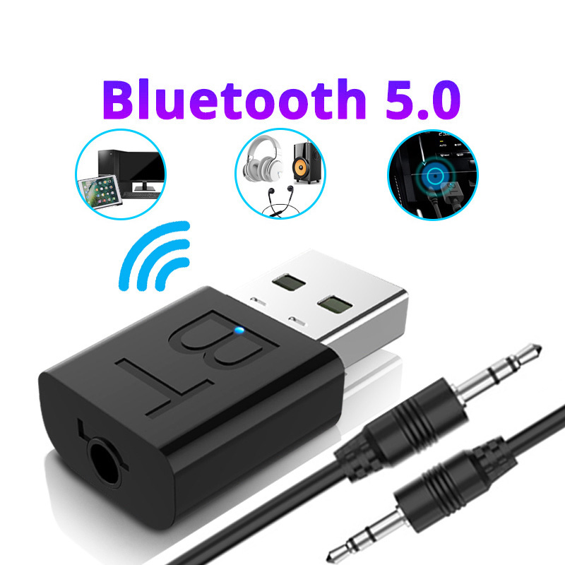 Audio Bluetooth Transmitter Receiver Car AUX Cable Kit Bluetooth Wireless Adapter TV jack Wireless Earphone USB Adapter black