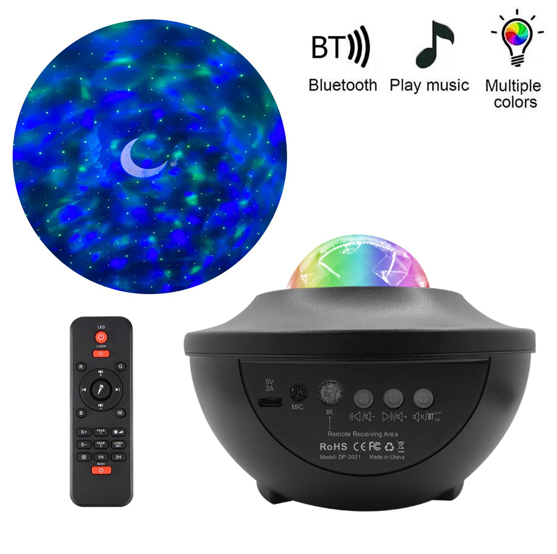 Music Starry Sky Projector Light Rgb Magic Ball Water Pattern Aurora Light Atmosphere Stage Light Black