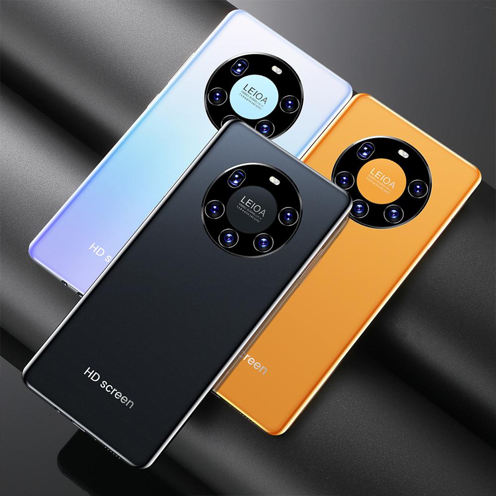 Smart Phone H30 Mate50 Pro+ 7.3 Inch Large Screen 2GB+16GB Smart Phone Yellow (UK Plug)