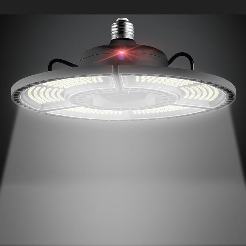Folding Led Deformable Lamp Waterproof Light Sensor 60W/80W/100W/120W LED Bulb for Warehouse Lighting  White 6000K_Garage Light B-Light 60W