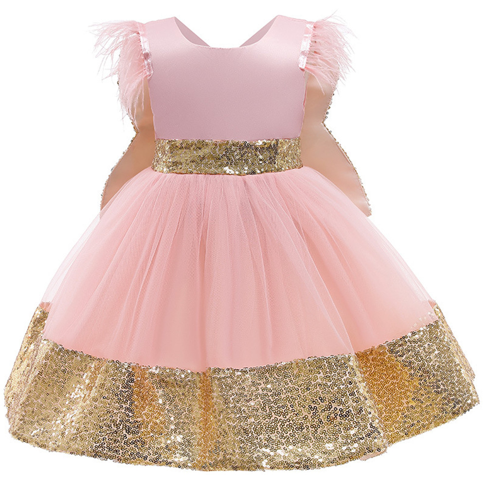 Girls Dress Christmas Sleeveless Bowknot Net Yarn Dress for 3-6 Years Old Kids Pink_100cm