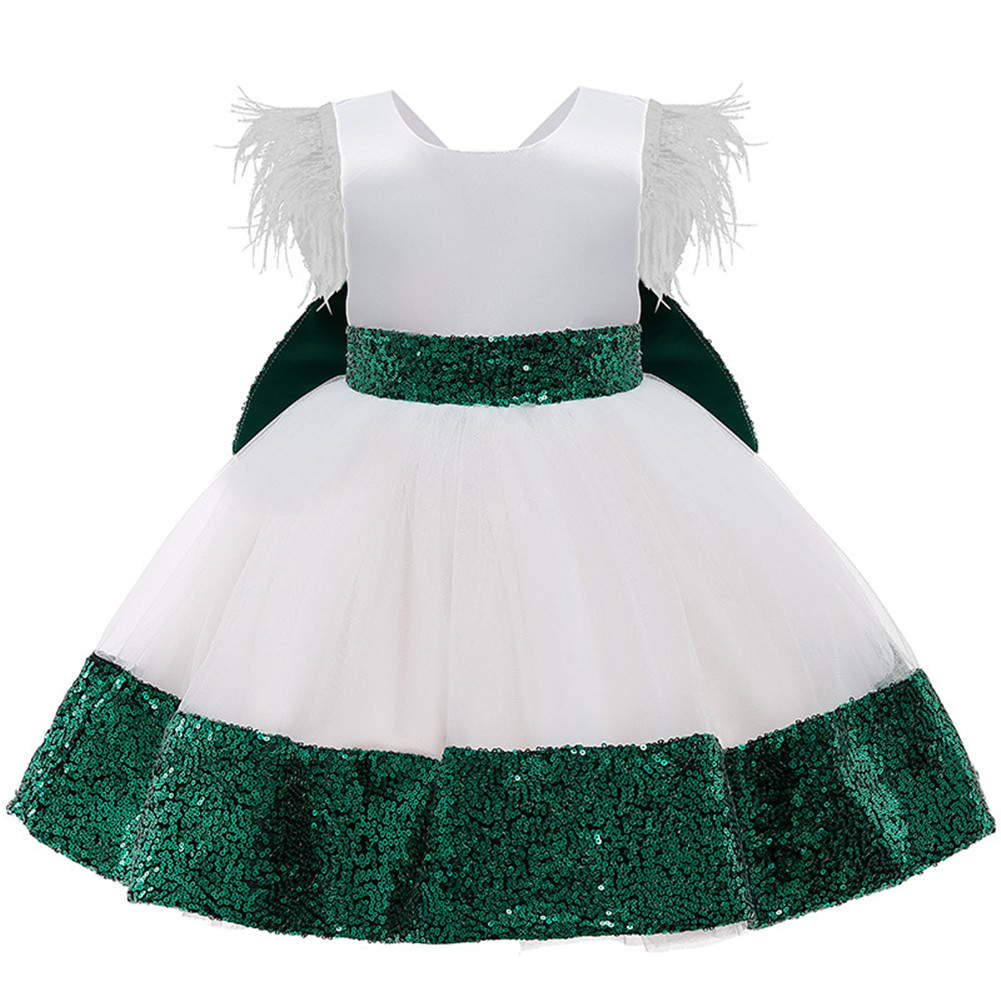 Girls Dress Christmas Sleeveless Bowknot Net Yarn Dress for 3-6 Years Old Kids Dark green_110cm
