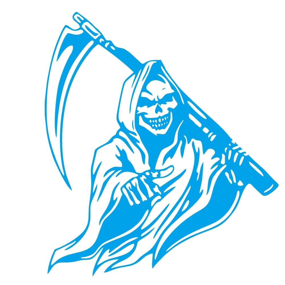 Car Sticker Grim Reaper Skull Pattern Decal Machine Car Truck Wall Window Vinyl Sticker blue