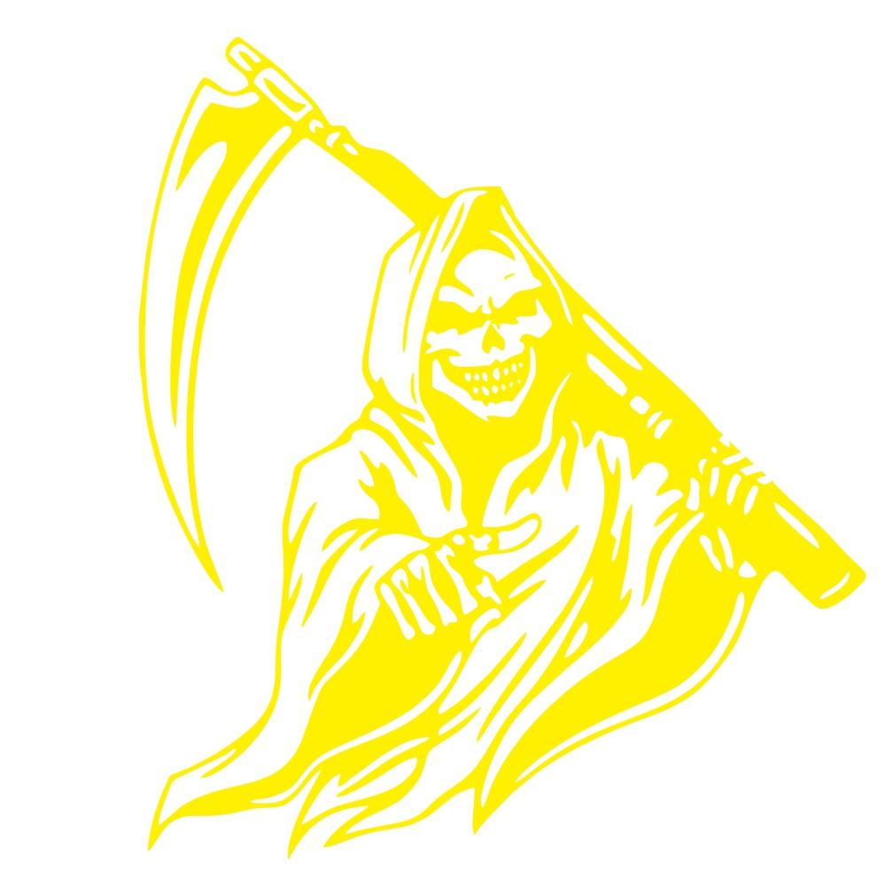 Car Sticker Grim Reaper Skull Pattern Decal Machine Car Truck Wall Window Vinyl Sticker yellow