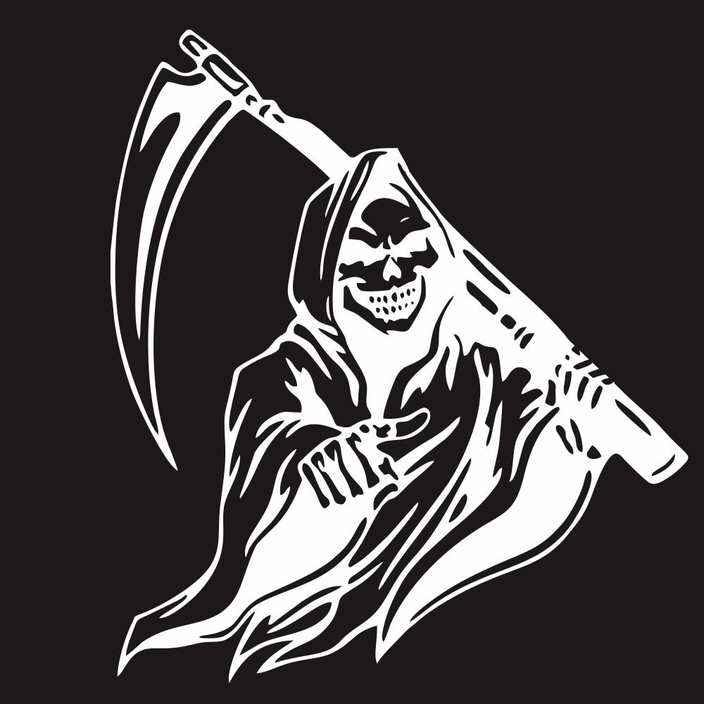 Car Sticker Grim Reaper Skull Pattern Decal Machine Car Truck Wall Window Vinyl Sticker white