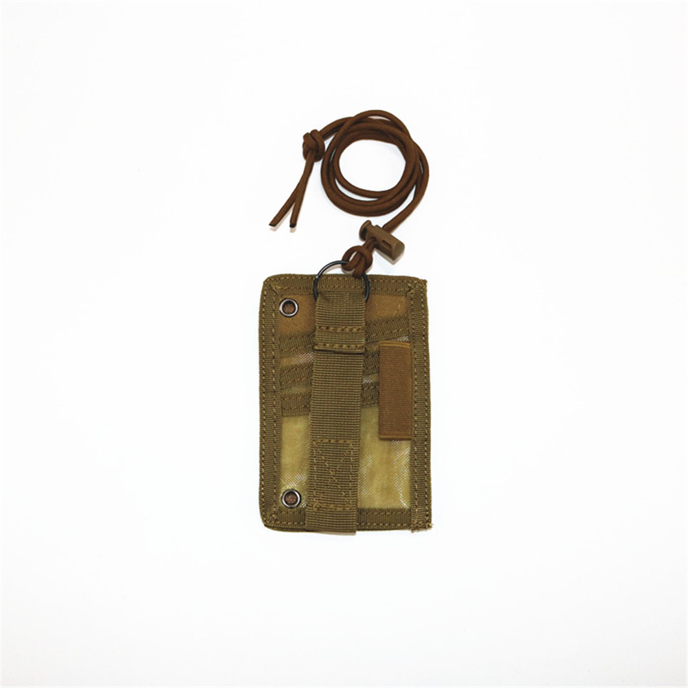 FGJ Outdoor Id Card Holder Card bag Neck Lanyard Key Ring Adjustable Loop Patch Document bag Khaki_13.5cm x 9cm