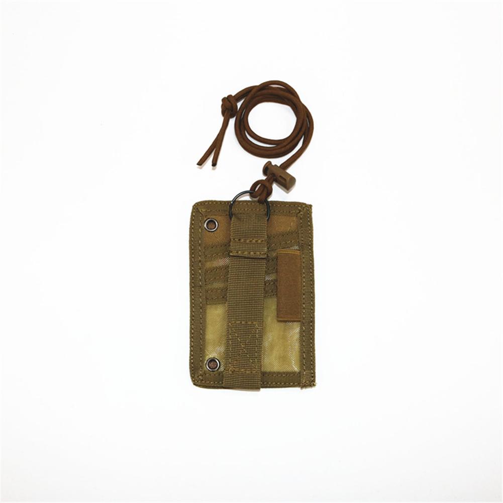 FGJ Outdoor Id Card Holder Card bag Neck Lanyard Key Ring Adjustable Loop Patch Document bag Khaki_13.5cm x 9cm