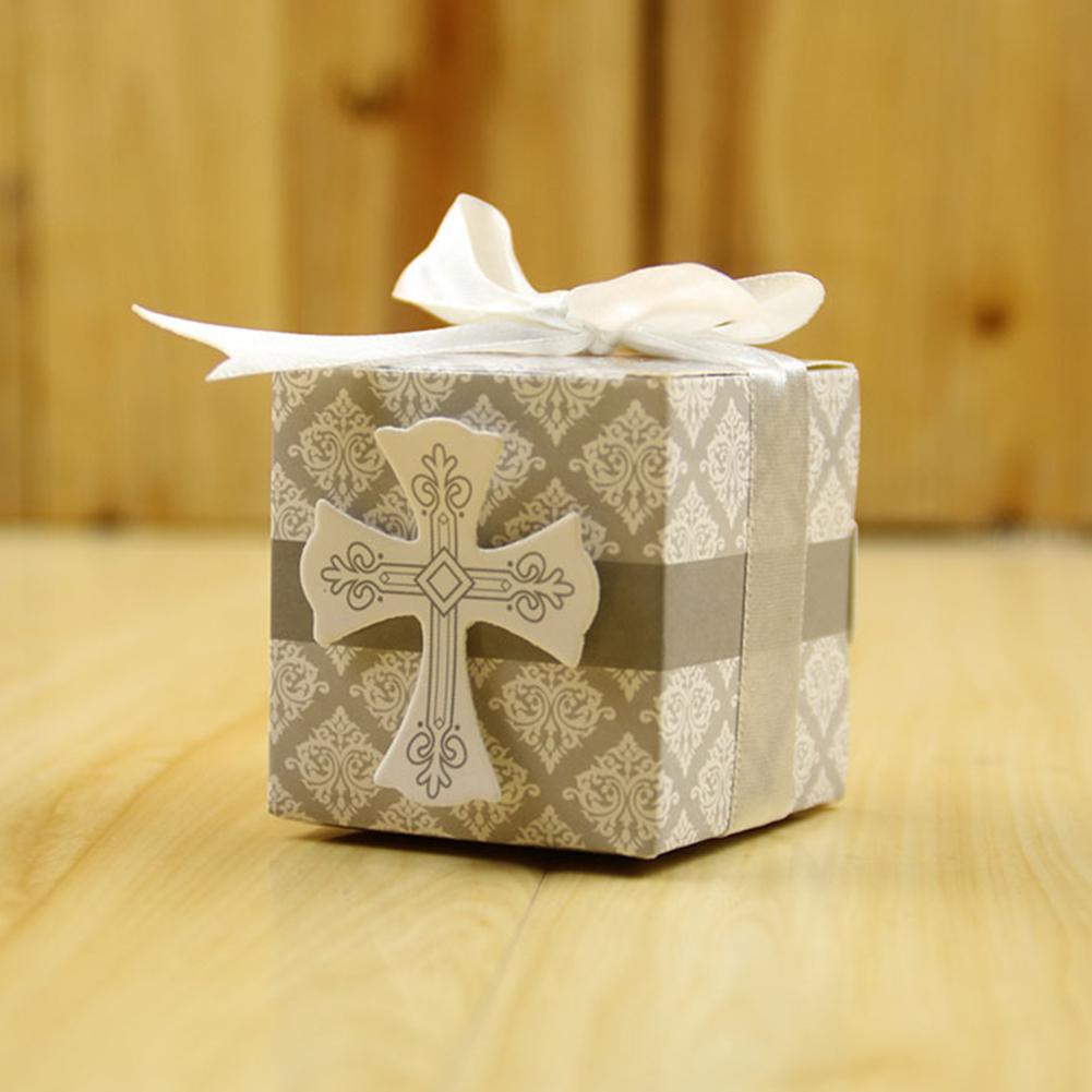 50Pcs/Pack Wedding Cross Candy Box Wedding Party Decorative Packing Box 5.3*5.3*5.3cm