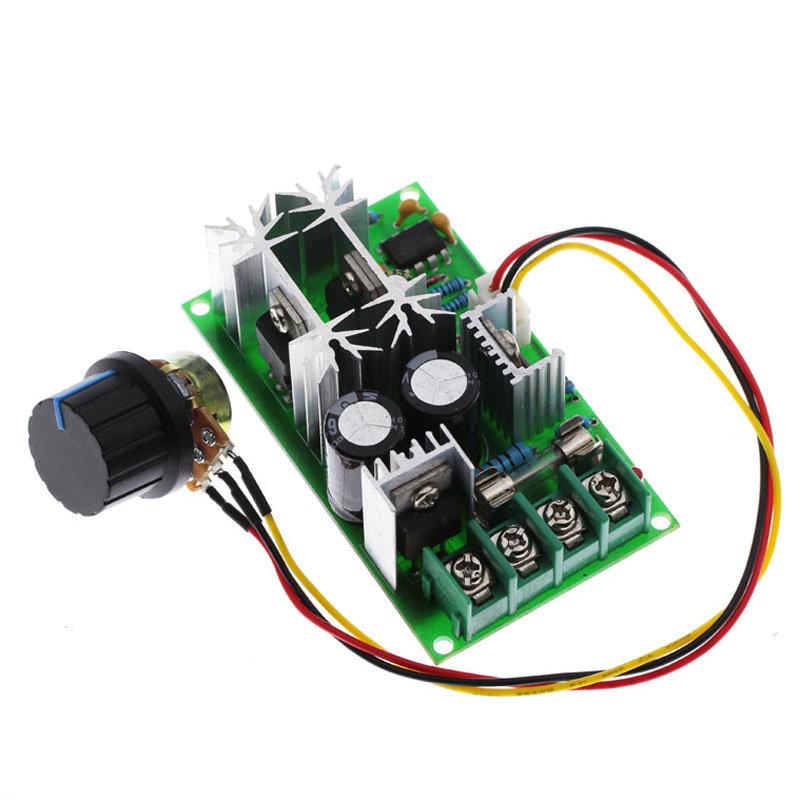 20A PWM DC Motor Speed Controller 12V 24V 36V 48V /w Potentiometer Knob Switch green