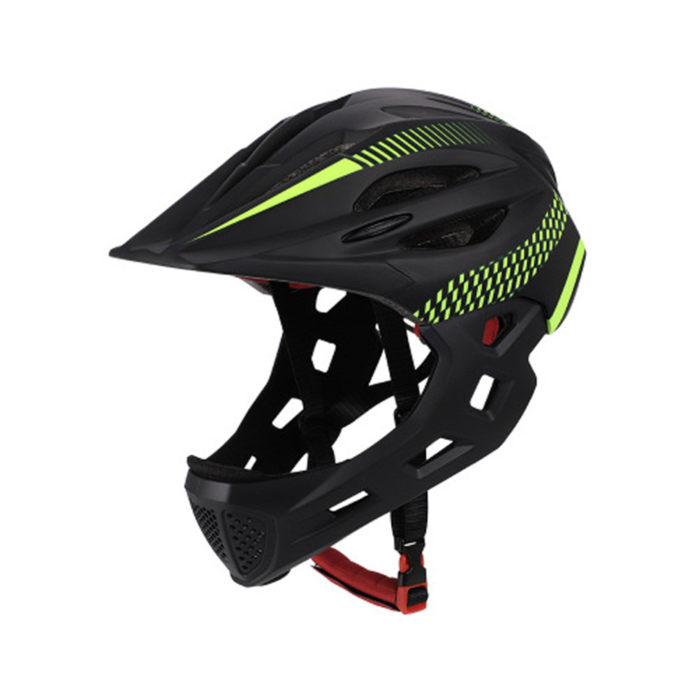 Children Detachable Full Face Bicycle / Mountain Road Bicycle Safety Helmet with Tail Light Black yellow_Head circumference (42-52cm)