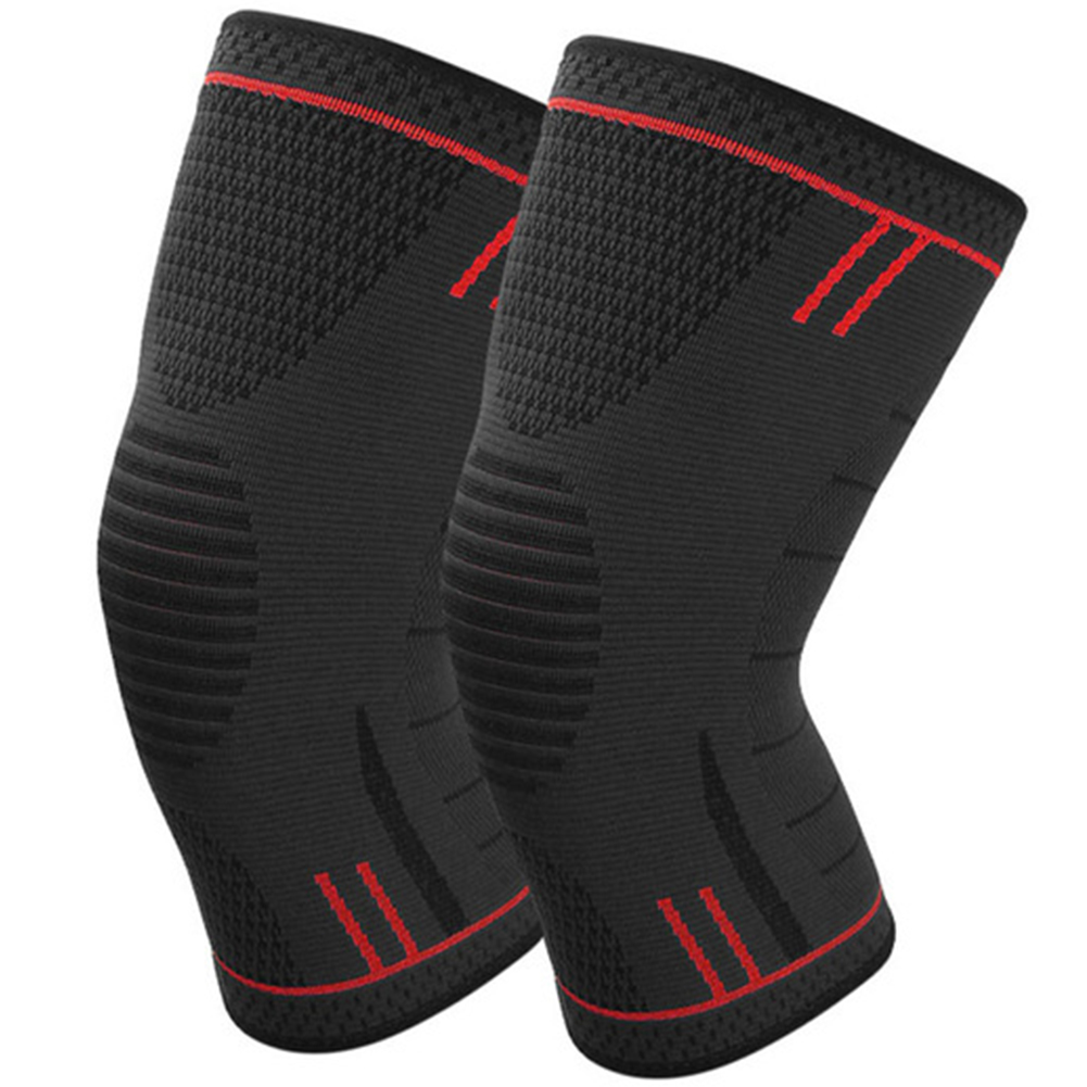 Non Slip Silicone Sports Knee Pads Support for Running Cycling Basketball red_XL