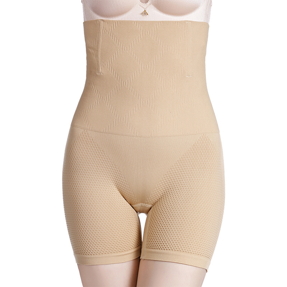 Women  Boxer  Briefs High-waisted Hip-lifting Seamless Postpartum Waist Plus Size Shaping Underwear Apricot_XXXL
