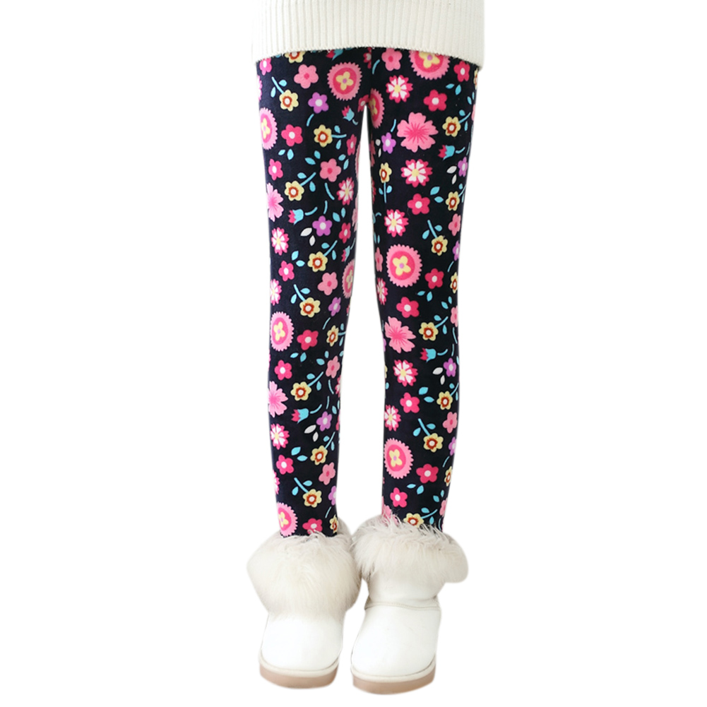 Winter Girls Thickened Warm Leggings with Velvet Colorful Print Girls Pants Trousers with Elastic Waist