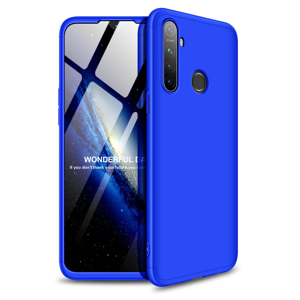 for OPPO Realme 5 Anti-Collision Protection Cover 360 Degree Full Coverage Phone Case Cellphone Shell Cover blue