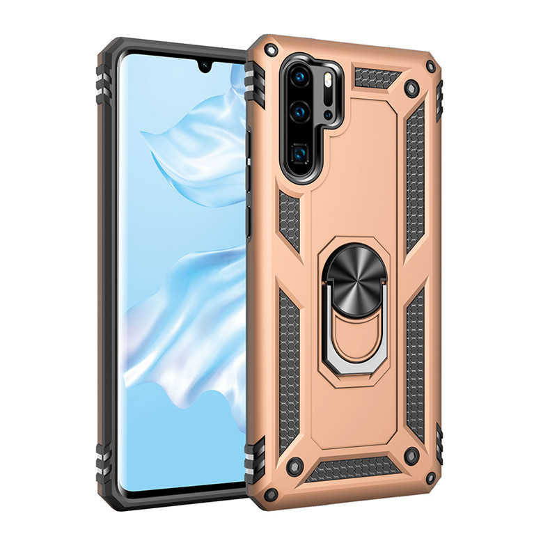 Anti-proof Phone Case Magnetic Car Phone Holder Case Cover for P30 pro Gold_Huawei P30 pro